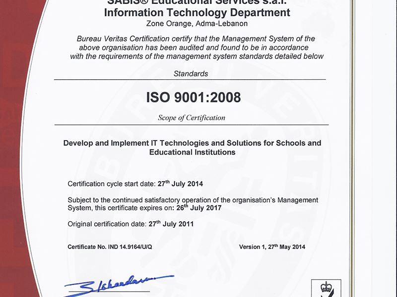 SABIS® IT Department Earns ISO 9001:2008 Recertification